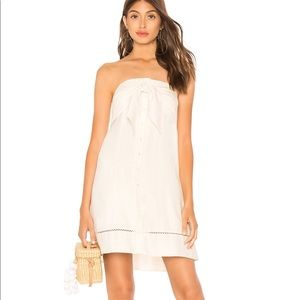 Strapless Tie Button Down Dress in antique White